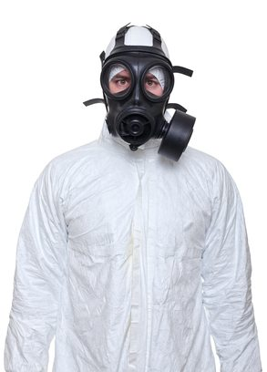 biohazard clean-up man with gas mask